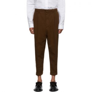 AMI Alexandre Mattiussi Brown Oversized Carrot Fit Trousers