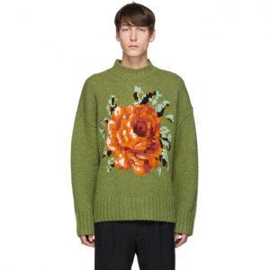 AMI Alexandre Mattiussi Green Flower Pullover Sweater