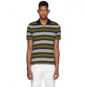 AMI Alexandre Mattiussi Green Striped Polo