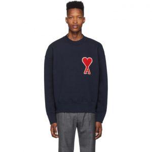 AMI Alexandre Mattiussi SSENSE Exclusive Navy Oversized Ami De Coeur Patch Sweatshirt