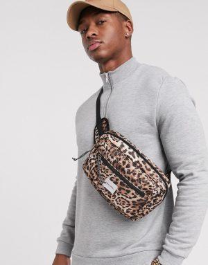 ASOS DESIGN cross body fanny pack in leopard print - Brown