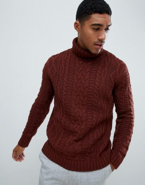 ASOS DESIGN heavyweight cable knit roll neck sweater in brown - Brown