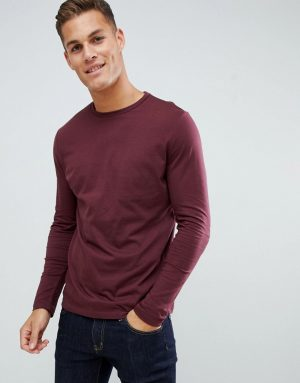 ASOS DESIGN long sleeve t-shirt with crew neck in red - Red