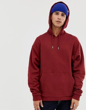 ASOS DESIGN oversized hoodie in burgundy - Red