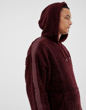 ASOS DESIGN oversized hoodie in burgundy borg with side stripe - Red