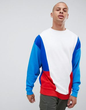 ASOS DESIGN oversized sweatshirt with color blocking - Blue