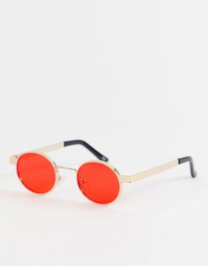ASOS DESIGN round sunglasses in gold with red lens - Red