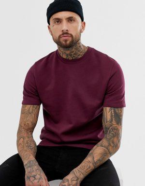 ASOS DESIGN shortsleeve sweatshirt in burgundy - Red