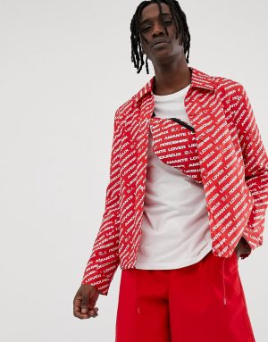 ASOS DESIGN two-piece coach jacket with print in red - Red