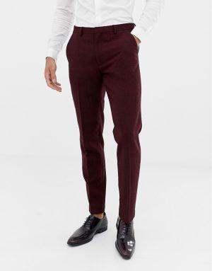 ASOS DESIGN wedding skinny suit pants in burgundy wool mix herringbone - Red