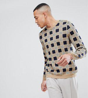 ASOS TALL Check Sweater In Tan - Brown