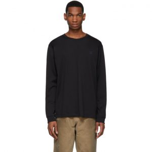 Acne Studios Black Elwood Face Long Sleeve T-Shirt