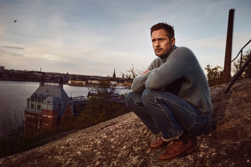 Alexander Skarsgård wears Clarks' Clarkdale Gobi boots for the brand's fall-winter 2019 campaign.