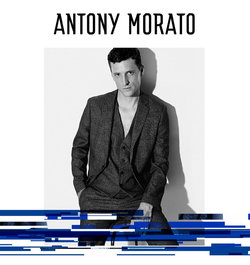 Donning a three-piece suit, George Barnett appears in Antony Morato's fall-winter 2019 campaign.