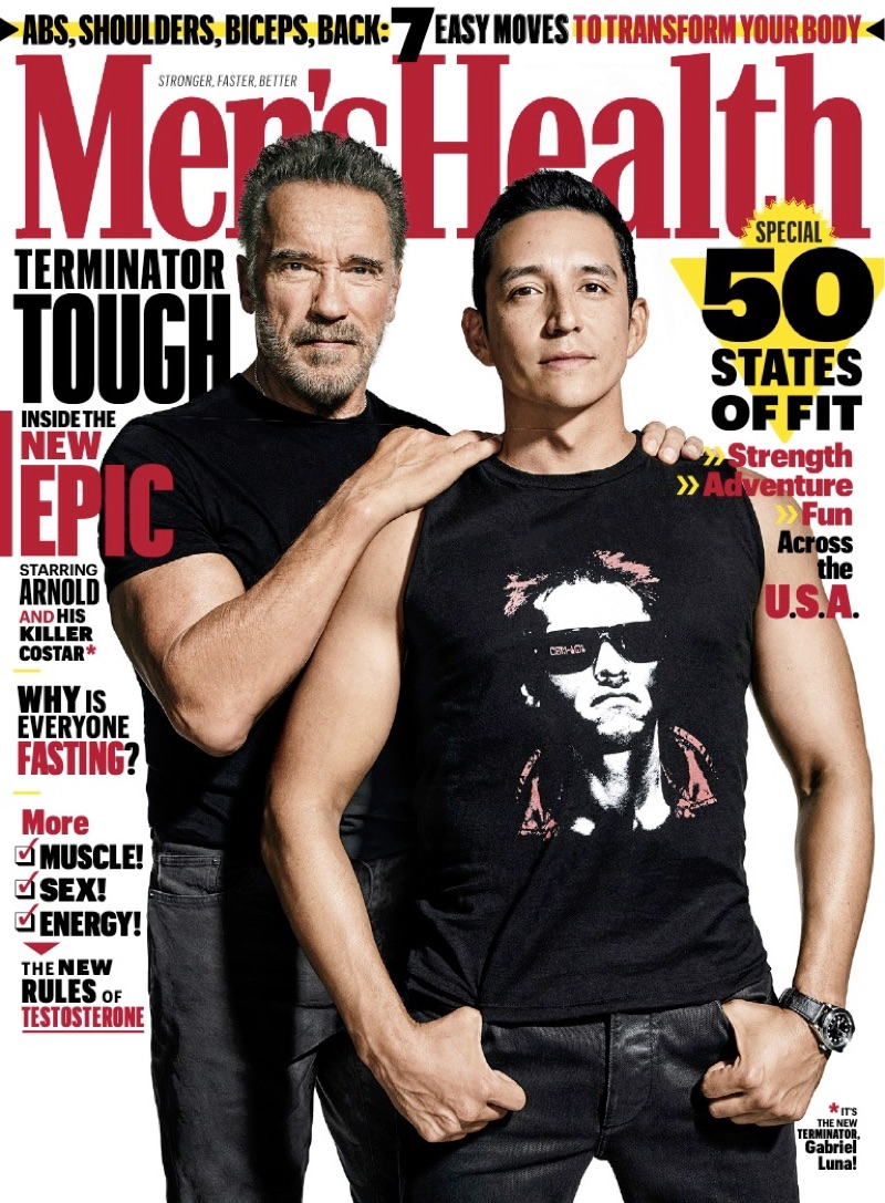 Actors Arnold Schwarzenegger and Gabriel Luna cover the October 2019 issue of Men's Health.