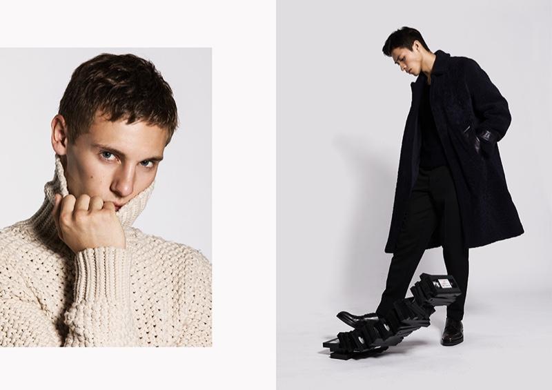 Left: Anton wears an open-weave turtleneck sweater by BOSS. Right: Dung sports a sleek black look by BOSS.