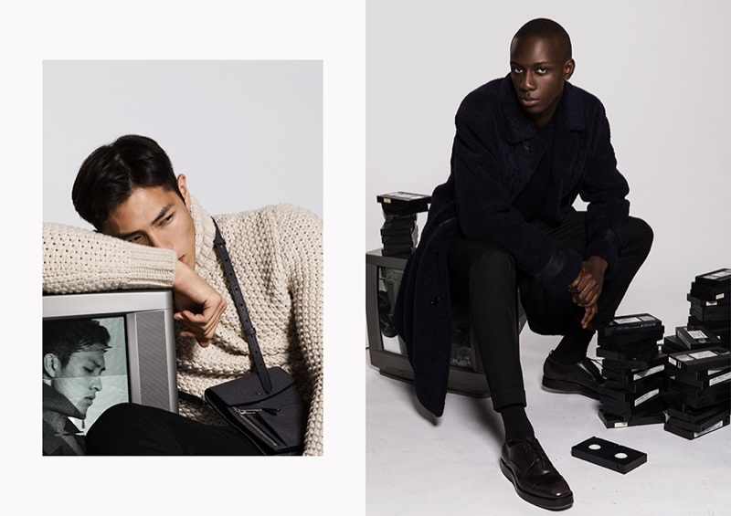 Left: Dung sports an open-weave turtleneck sweater with a leather bag by BOSS. Right: Dressed in black, Enoch showcases fall-winter 2019 style from BOSS.