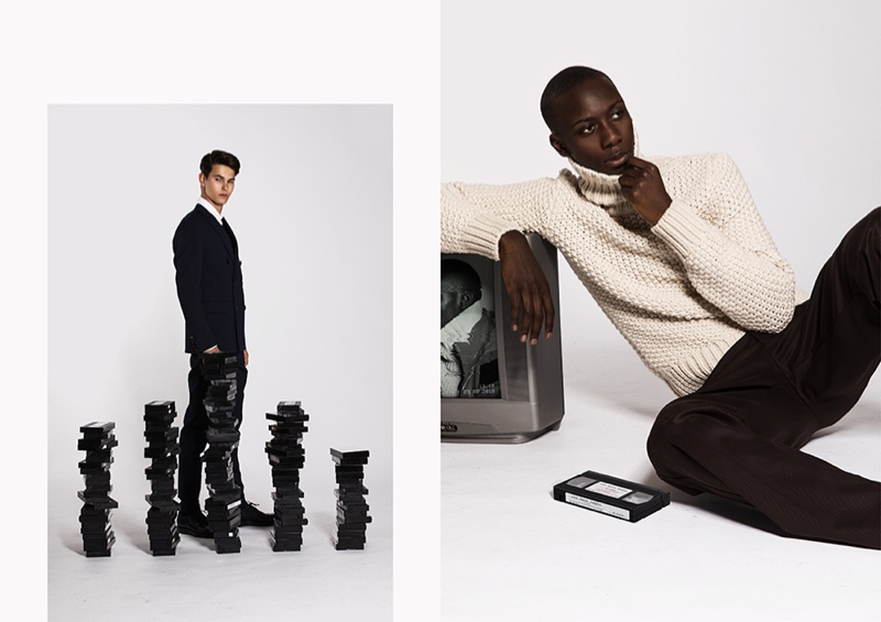 Left: Dung suits up in a look from BOSS. Right: Enoch relaxes in a chic open-weave turtleneck sweater and trousers from BOSS.
