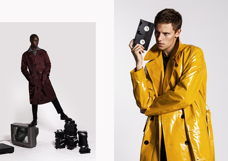 Left: Enoch stands out in a burgundy trench by BOSS. Right: Anton rocks a yellow BOSS coat.