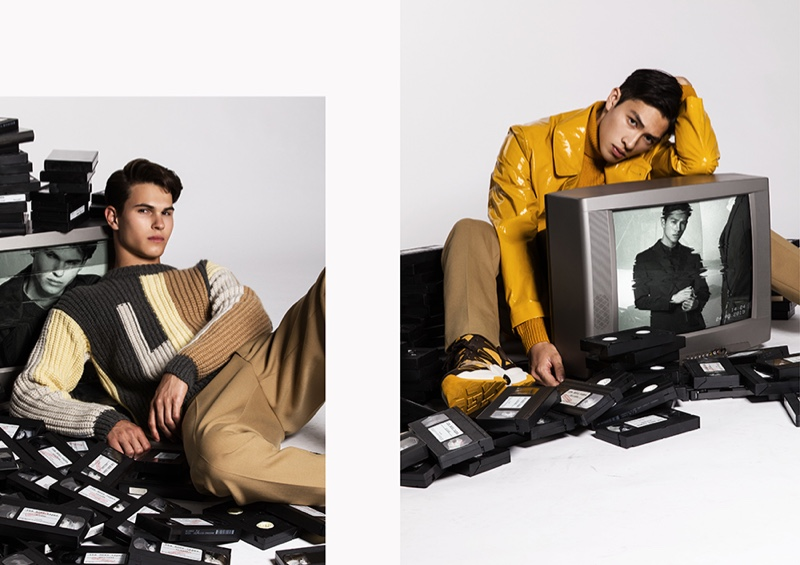 Left: Nicolas wears a graphic sweater and pants from BOSS. Right: Dung sports a yellow coat with pants and sneakers by BOSS.