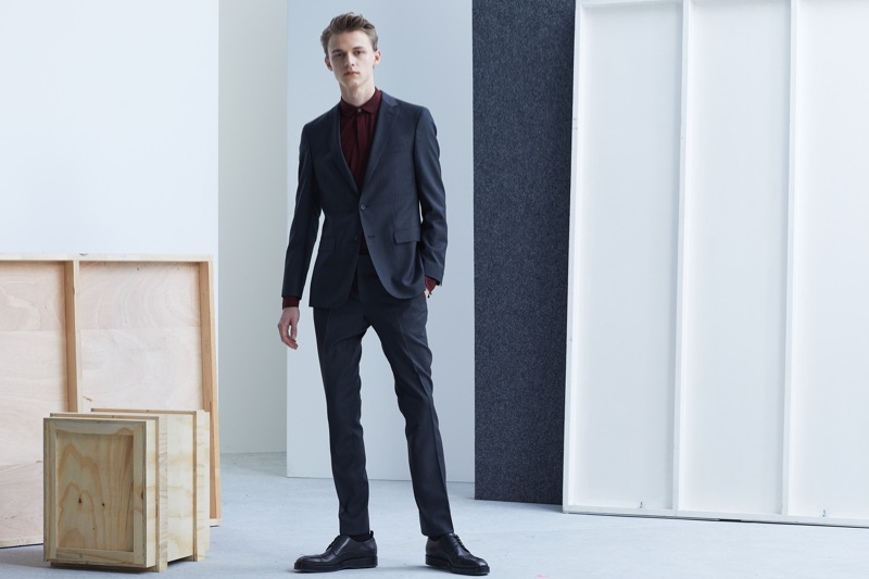 Front and center, model Max Barczak dons a suiting look from BOSS' Traceable Wool men's capsule collection.