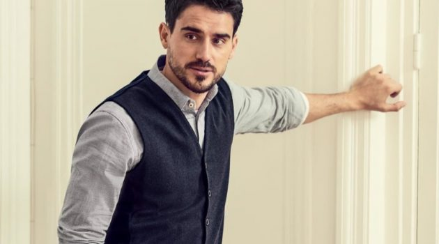 Arthur Kulkov dons a smart vest for BRAX's fall-winter 2019 campaign.