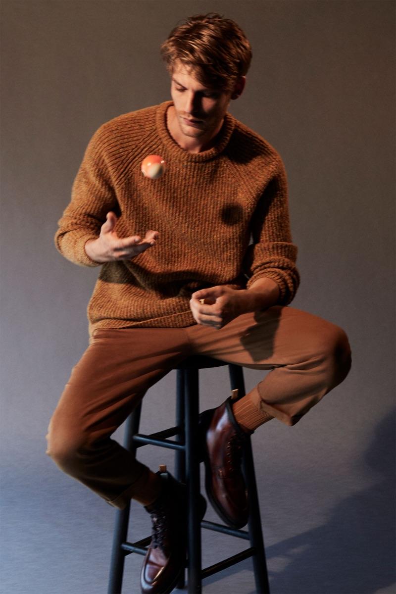 Embracing a monochromatic look for fall, Baptiste Radufe wears Zara.
