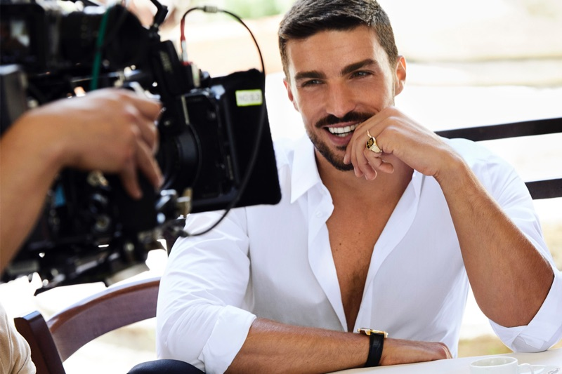 All smiles, Mariano Di Vaio shoots the K by Dolce & Gabbana fragrance campaign.