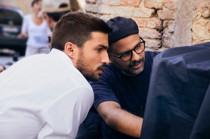 Italian influencer Mariano Di Vaio and photographer Mariano Vivanco behind the scenes of the K by Dolce & Gabbana campaign.
