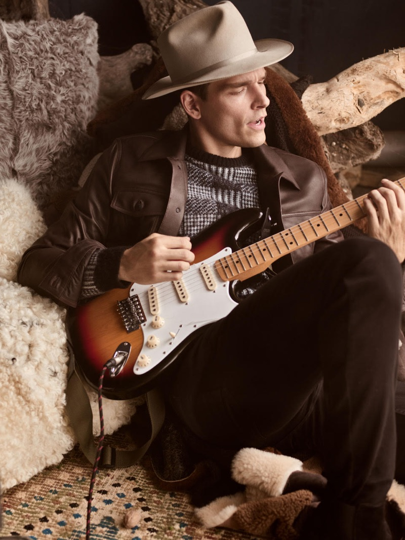 Playing the guitar, Alexandre Cunha stars in Beymen Club's fall-winter 2019 campaign.