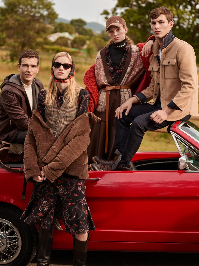 Alexandre Cunha, Eva Klímková, Adrienne Juliger, and Kit Butler appear in Beymen Club's fall-winter 2019 campaign.