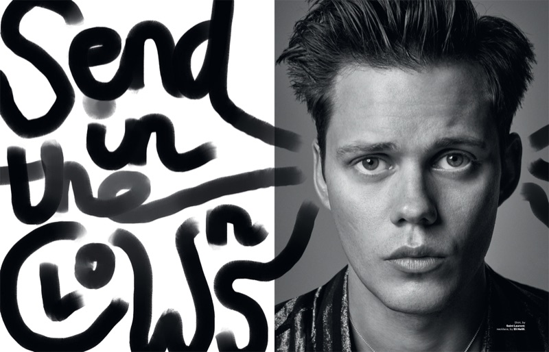 Donning Saint Laurent, Bill Skarsgård appears in a photo shoot for Esquire Singapore.