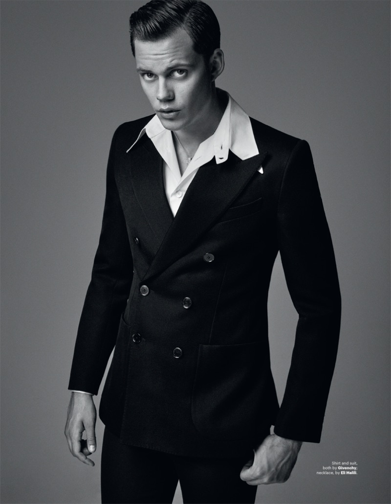 A sharp vision, Actor Bill Skarsgård sports a shirt and double-breasted suit by Givenchy.