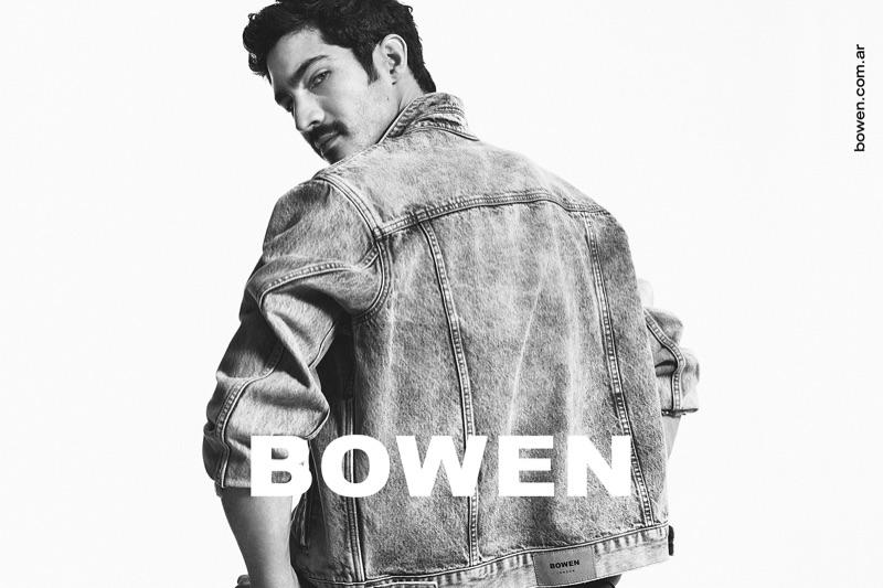 Rocking a denim jacket, Chino Darín stars in Bowen's spring-summer 2020 campaign.