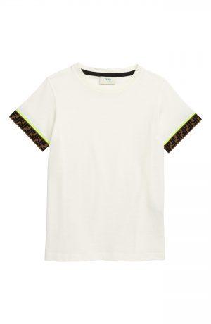 Boy's Fendi Logo Trim T-Shirt, Size 8Y - White