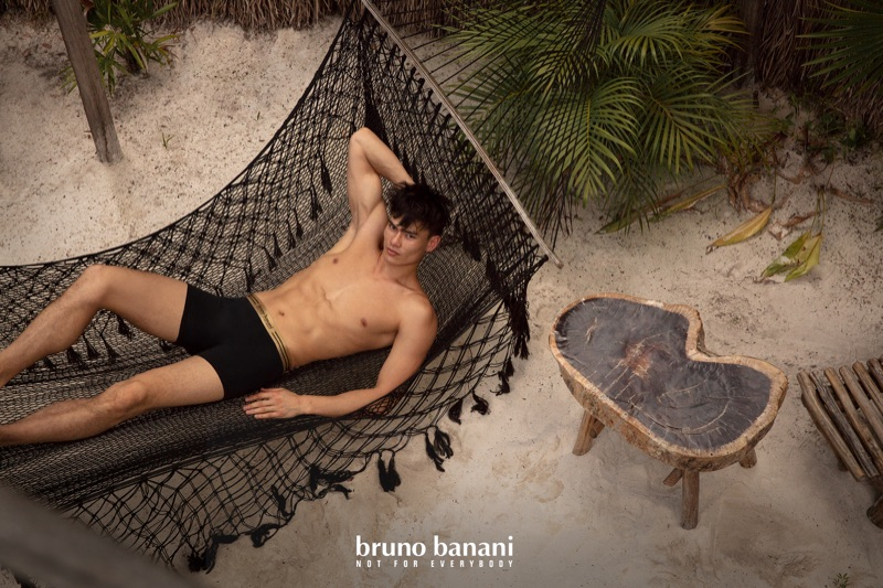 Simonas Pham appears in Bruno Banani's summer 2020 campaign.