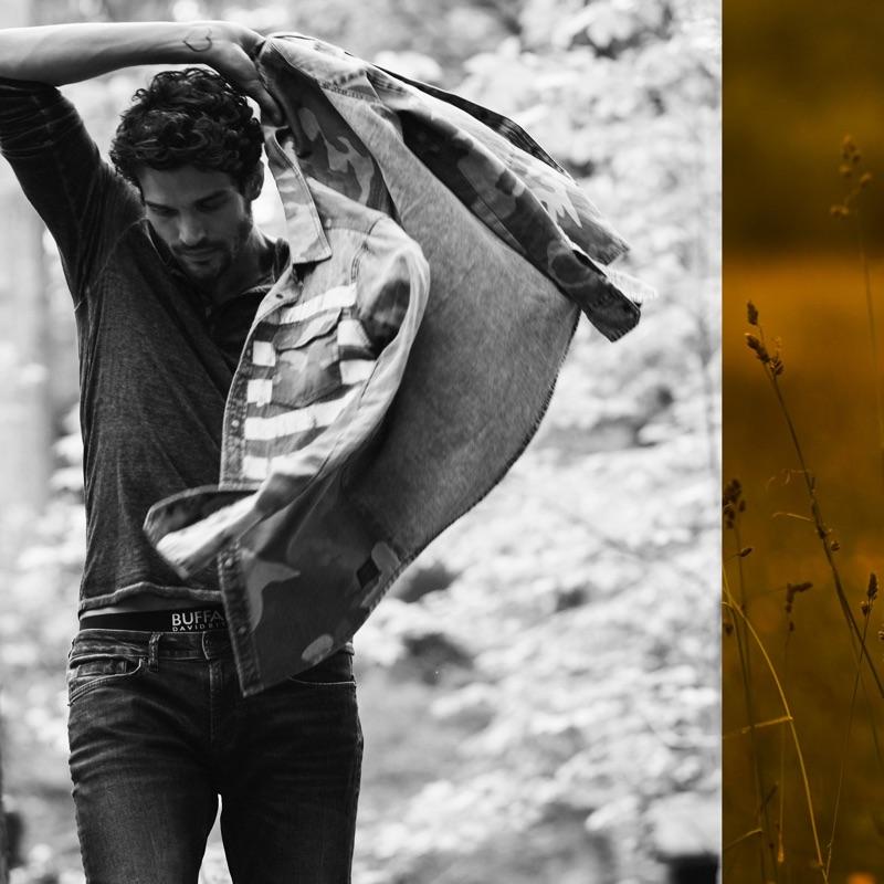 Model Paul Kelly appears in Buffalo David Bitton's fall-winter 2019 campaign.