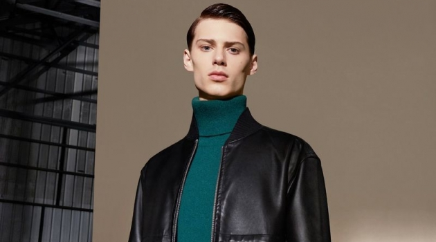 Conlan Munari dons a leather jacket and turtleneck sweater for CK Calvin Klein's fall-winter 2019 campaign.