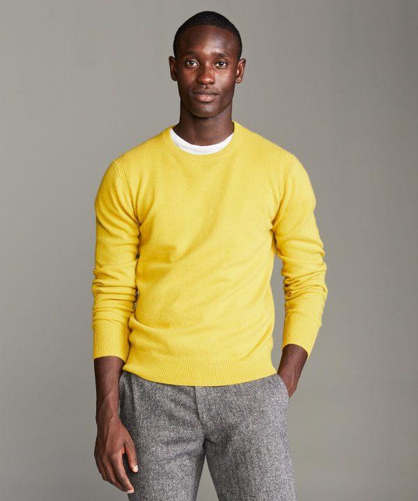 Cashmere Crewneck Sweater in Citron