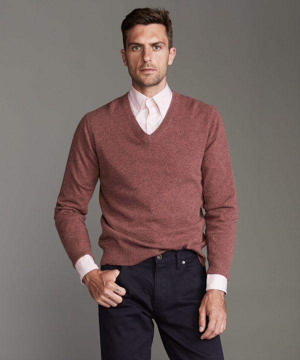 Cashmere V-neck Sweater in Burnt Rose