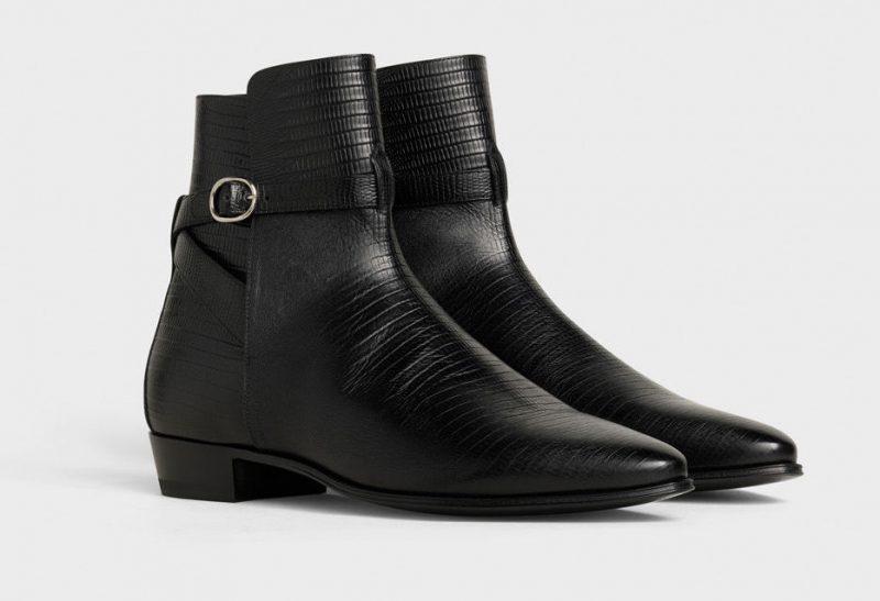 Celine Jodhpur Leather Lizard Stamped Boots
