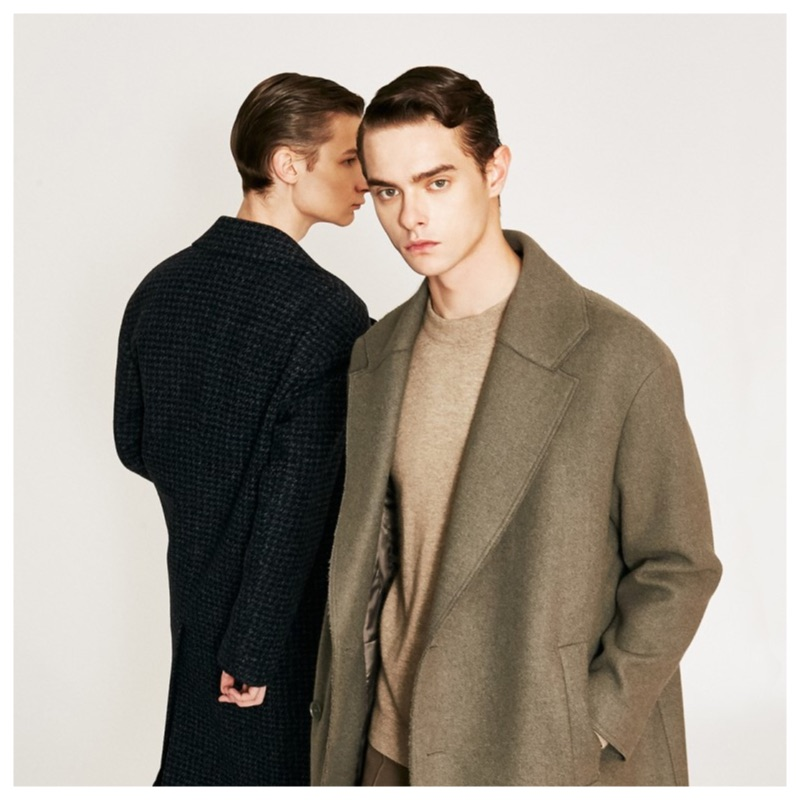 Models Guillaume D. and Damian Gałkowski inspire in sleek outfits for Comodo Korea's fall-winter 2019 campaign.