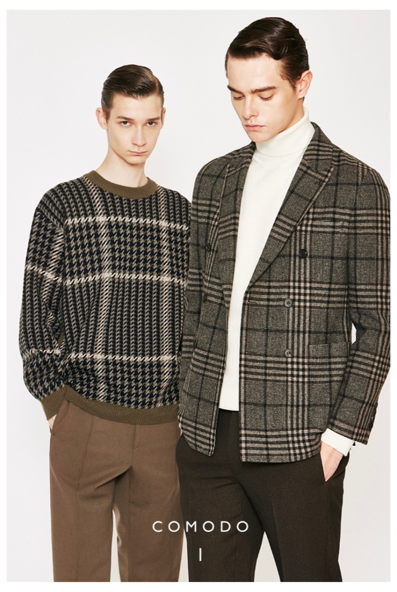 Donning smart style, Guillaume D. and Damian Gałkowski appear in Comodo Korea's fall-winter 2019 campaign.