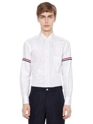 Cotton Poplin Shirt W/ Striped Arm Bands