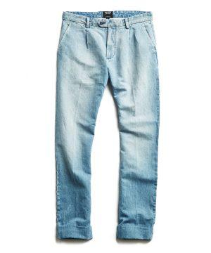Denim Pleated Cotton Linen Trouser