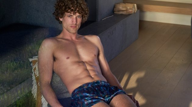 Max Rogers dons Derek Rose's modern fit pure silk boxer shorts $225.
