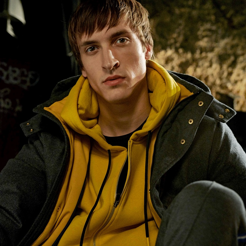 Tim Dibble models a sporty look from Digel Move's fall-winter 2019 collection.