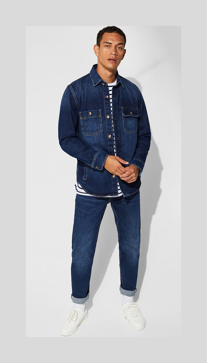 Connecting with Esprit, Raith Clarke wears double denim for the season.