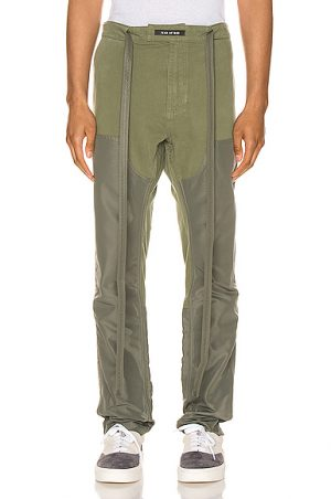 Fear of God Nylon Canvas Double Front Work Pant in Green