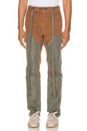 Fear of God Nylon Canvas Double Front Work Pant in Green,Brown